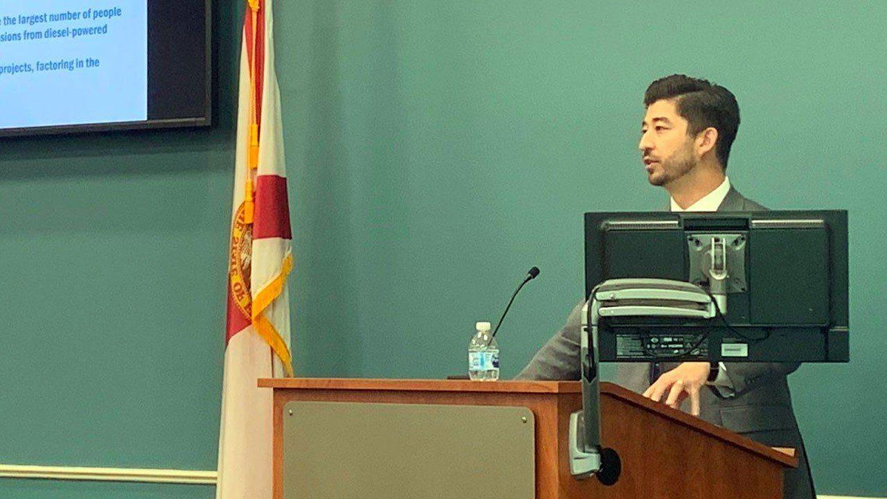 Clean fuels meeting speaker behind podium